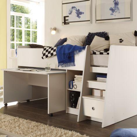 Lit mi-hauteur Pierrot 90x200 avec bureau - blanc