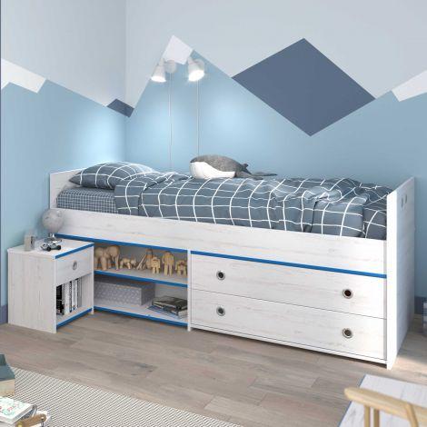 Lit banquette Smiley 90x200 avec rangements - blanc/rose ou blanc/bleu