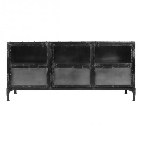 Buffet Brooklyn 150cm - acier naturel/verre