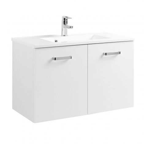 Meuble vasque Bobbi 80cm avec 2 portes et vasque céramique - blanc