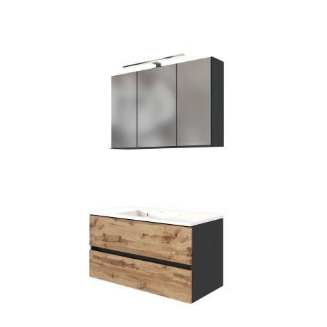 Ensemble salle de bains Luna 2 pièces 100cm - graphite/chêne