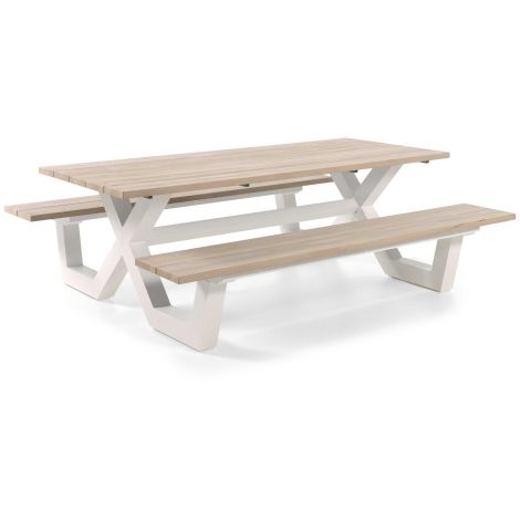 Table de pique-nique Biabou 220x218 - blanc/gris
