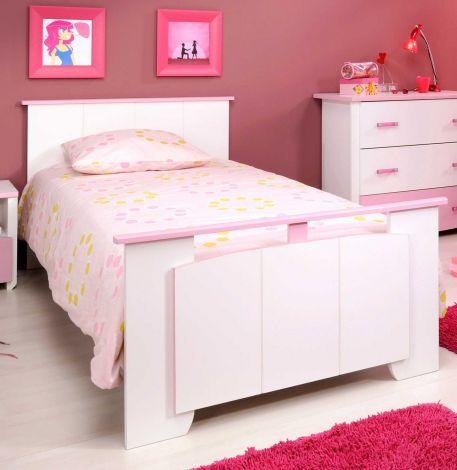 Lit enfant Beauty fille 90x190 cm - rose/blanc