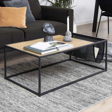 Table basse avec porte-revues Dover - noir/chêne sauvage