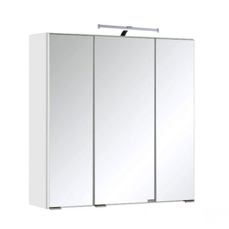 Armoire de toilette Bobbi 60cm modèle 2 3 portes & eclairage LED - blanc