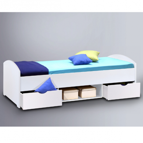 Lit Nero 90x200 avec 2 tiroirs - blanc