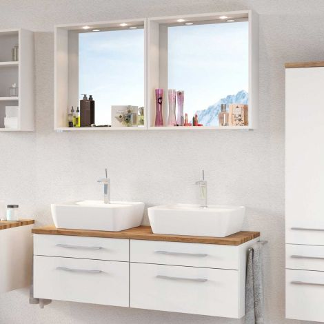 Set meuble lavabo double Dasa 120cm 4 tiroirs - blanc