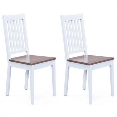 Lot de 2 chaises salle à manger Westerland - blanc/brun
