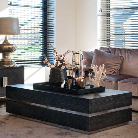 Table basse Bony 150x80cm - noir/argent