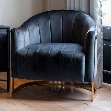 Fauteuil Melody velours - anthracite/or