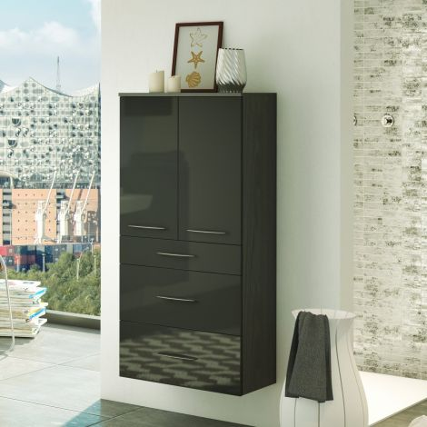 Armoire salle de bains Florent 60cm 2 portes & 3 tiroirs - graphite/gris brillant