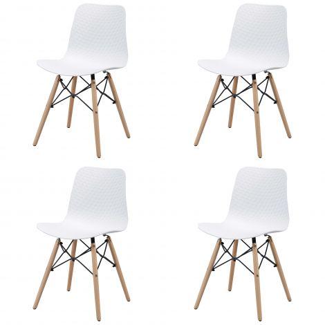 Lot de 4 chaises de salle à manger Jenna - blanc