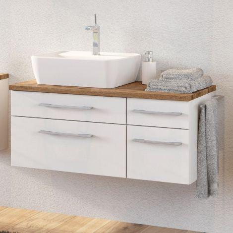 Meuble lavabo Dasa (gauche) 90cm à 4 tiroirs - blanc
