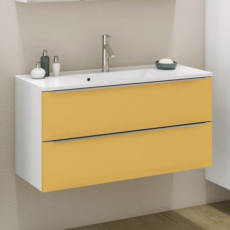 Meuble lavabo Hansen 100cm 2 tiroirs - jaune/blanc