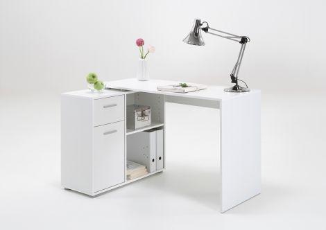 Bureau d'angle Albrecht 117cm - blanc
