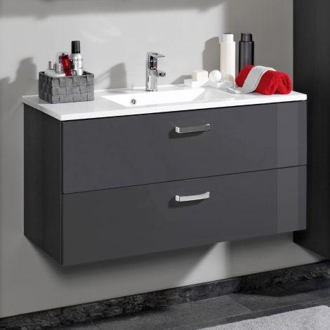 Meuble vasque Bobbi 90cm 2 tiroirs - graphite/gris brillant