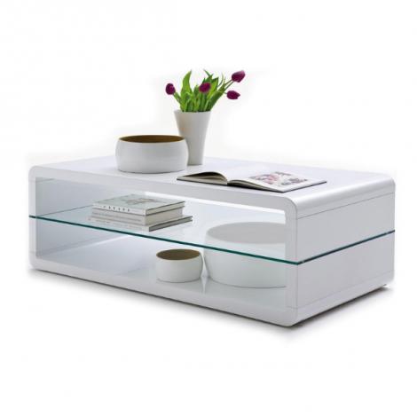 Table basse Lewis avec tablette en verre - blanc