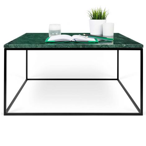 Table basse Gleam 75x75 - marbre vert/acier