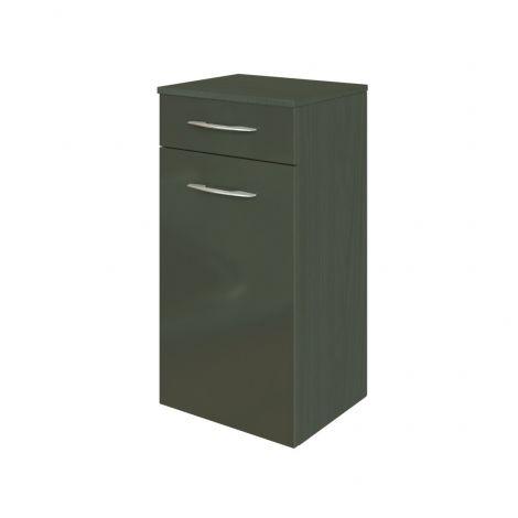 Armoire salle de bains Florent 40cm 1 porte & 1 tiroir - graphite/gris brillant