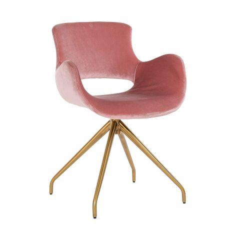 Chaise de salle à manger Sierra pivotante en velours - rose