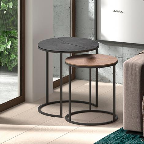 Lot de 2 tables d'appoint Margriet - noir/bronze