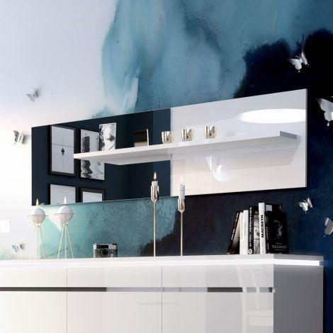 Miroir Elif avec étagère - blanc brillant
