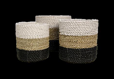 Set de paniers - raphia / herbe de mer - blanc / naturel / noir - lot de 3
