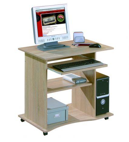 Bureau sur roulettes pour ordinateur Adda - chêne