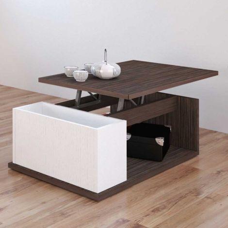 Table basse Ora 90x55 avec plateau relevable - brun/blanc