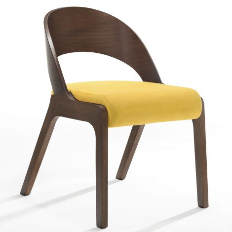 Jeu de 2 chaises Ulrike - noyer/jaune