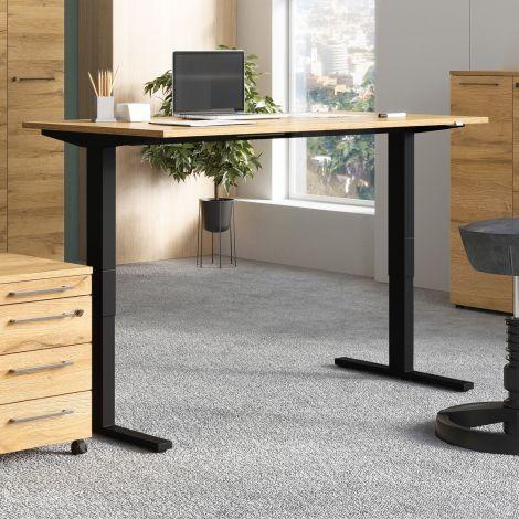 Bureau assis debout Oswald 160 cm électrique - chêne/noir