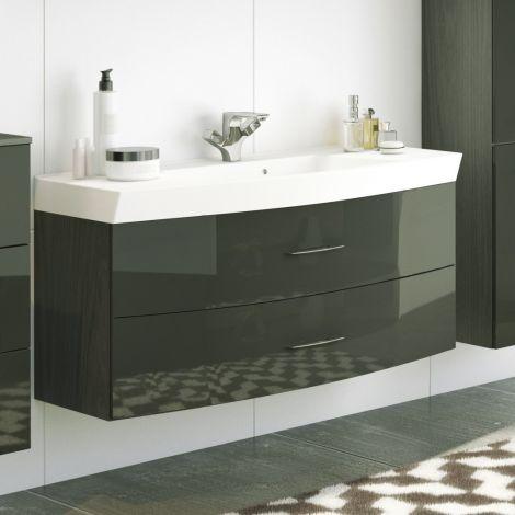 Meuble vasque Florent courbé 120cm 2 tiroirs - graphite/gris brillant