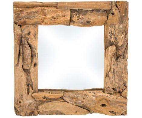 Miroir mural - 50x50 cm - teck racine bois