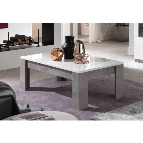 Table basse Greta 126x67 - béton/blanc