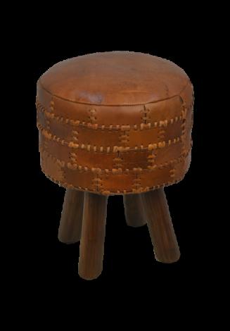 Tabouret Patchwork ø33cm rond, cuir - vintage cognac