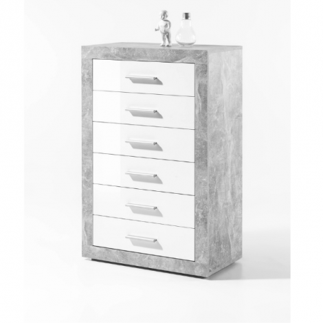 Caisson à tiroirs 66cm avec 6 tiroirs - béton/blanc