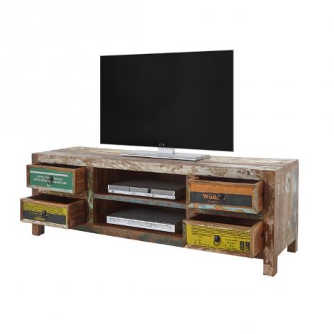 Meuble tv Banksy 156cm avec 4 tiroirs - brun