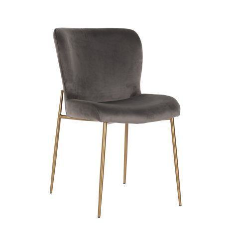 Chaise Odys velours  - gris/or