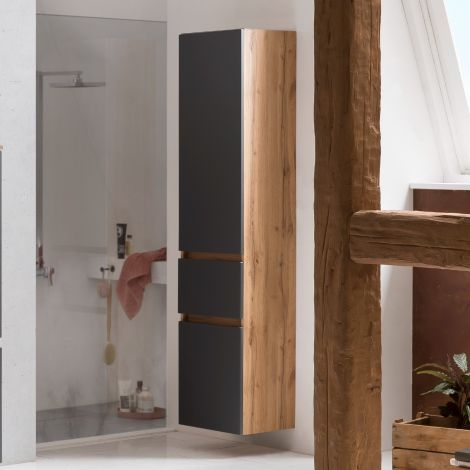 Colonne Kornel/Luna 40cm 2 portes & 1 tiroir - chêne/gris mat