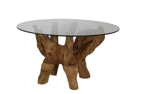 Table basse avec plateau en verre - racine de teck ancien