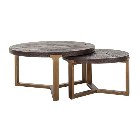 Jeu de 2 tables basses Cromford - brun/or
