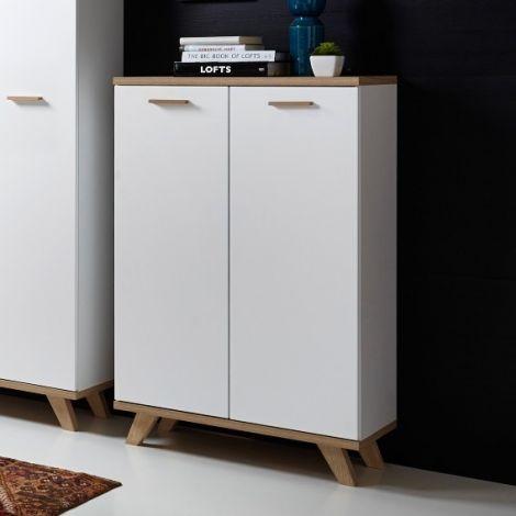 Bibliothèque/Armoire de rangement Ousmane H122cm - blanc
