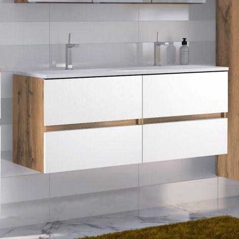 Meuble vasque Luna 120cm avec double vasque et 4 tiroirs - chêne/blanc