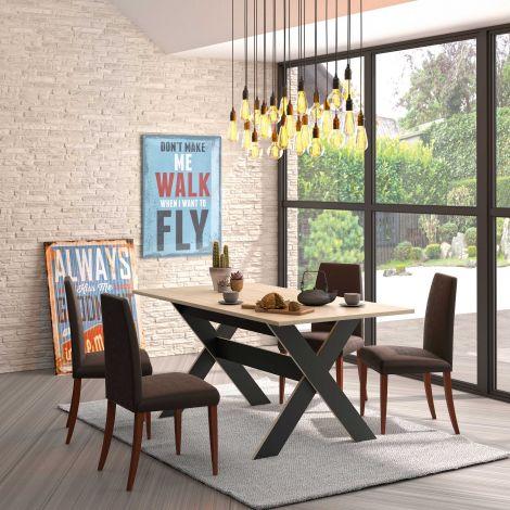 Table Doris 160x90 - noir/châtaignier naturel