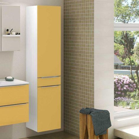 Colonne Hansen 40cm 2 portes et 1 tiroir - jaune/blanc