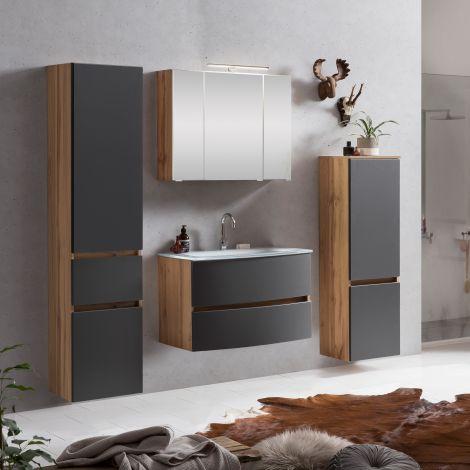 Ensemble salle de bains Kornel 9 à 4 pièces avec vasque blanche - chêne/gris mat
