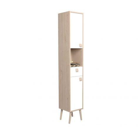 Colonne Anthony avec 2 portes & 1 tiroir - chêne/blanc