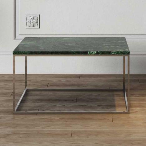 Table basse Gleam 75x75 - marbre vert/chrome