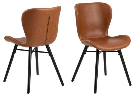 Set de 2 chaises en similicuir Tilda avec pieds obliques - cognac/noir