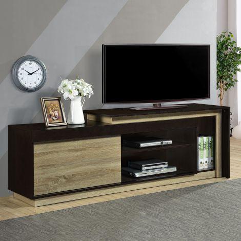 Meuble tv Munis 180cm avec 1 porte - noir/chêne